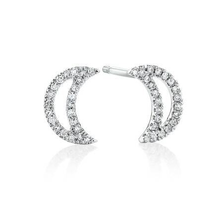 Half Moon Stud Earrings With Diamonds In 10ct White Gold