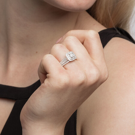 Bridal with 1 Carat TW of Diamonds in 14ct White Gold