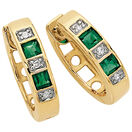Hoop Earrings with Created Emerald & Diamonds in 10ct Yellow & White Gold