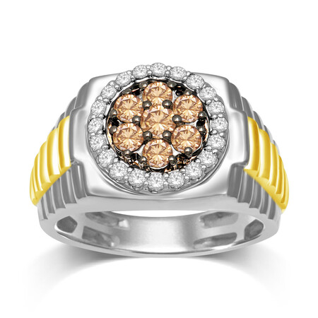 Ring with 1.00 Carat TW of White & Champagne Diamonds in 10ct Yellow & White Gold