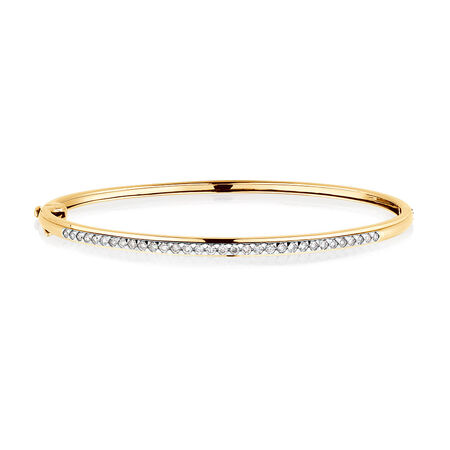 Bangle with 1/2 Carat TW of Diamonds in 10ct Yellow Gold
