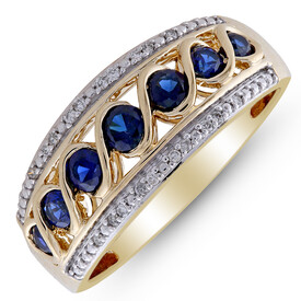 Twist Ring with Created Sapphire & Diamond in 10ct Yellow Gold