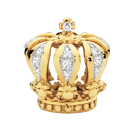 Diamond Set & 10ct Yellow Gold Crown Charm