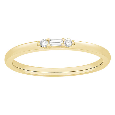 Stacker Ring with Diamonds in 10ct Yellow Gold