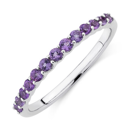 Stacker Ring with Amethyst in Sterling Silver
