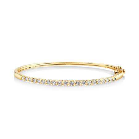 Oval Bangle with 1 Carat of TW Diamonds in 10ct Yellow Gold