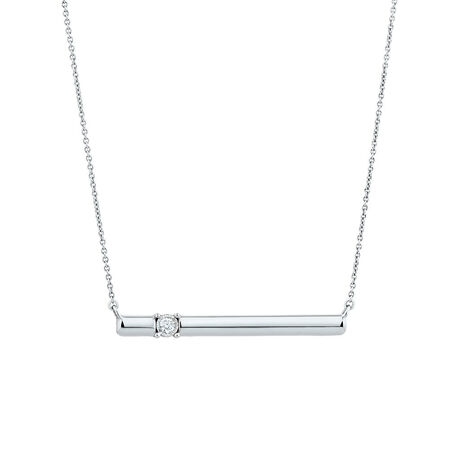 Bar Necklace with Diamond in Sterling Silver