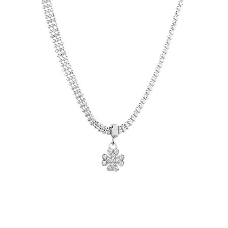 Clover Necklace with Cubic Zirconia in Sterling Silver