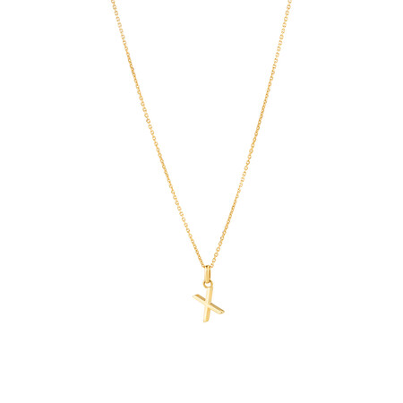 """""""X"""" Initial Pendant with Chain in 10ct Yellow Gold"""