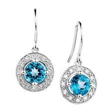 Online Exclusive - Drop Earrings with Blue Topaz & Diamonds in 10ct White Gold