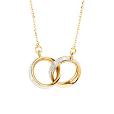 Glitter Linked Circles Necklace in 10ct Yellow Gold