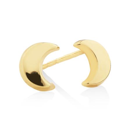 Moon Stud Earrings in 10ct Yellow Gold