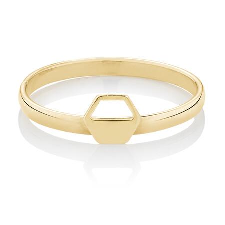 Hexagonal Geometric Ring in 10ct Yellow Gold