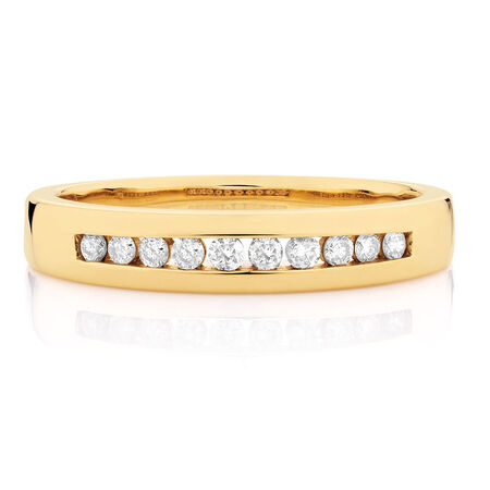 Online Exclusive - Men's Wedding Band with 1/4 Carat TW of Diamonds in 10ct Yellow Gold
