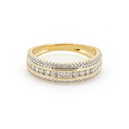 Three Row Ring with 0.50 Carat TW of Diamonds in 10ct Yellow Gold