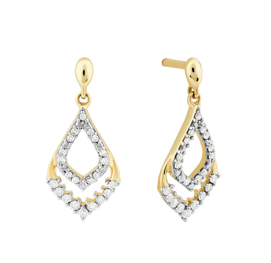 Teardrop Earrings with 0.15 Carat TW of Diamonds in 10ct Yellow Gold