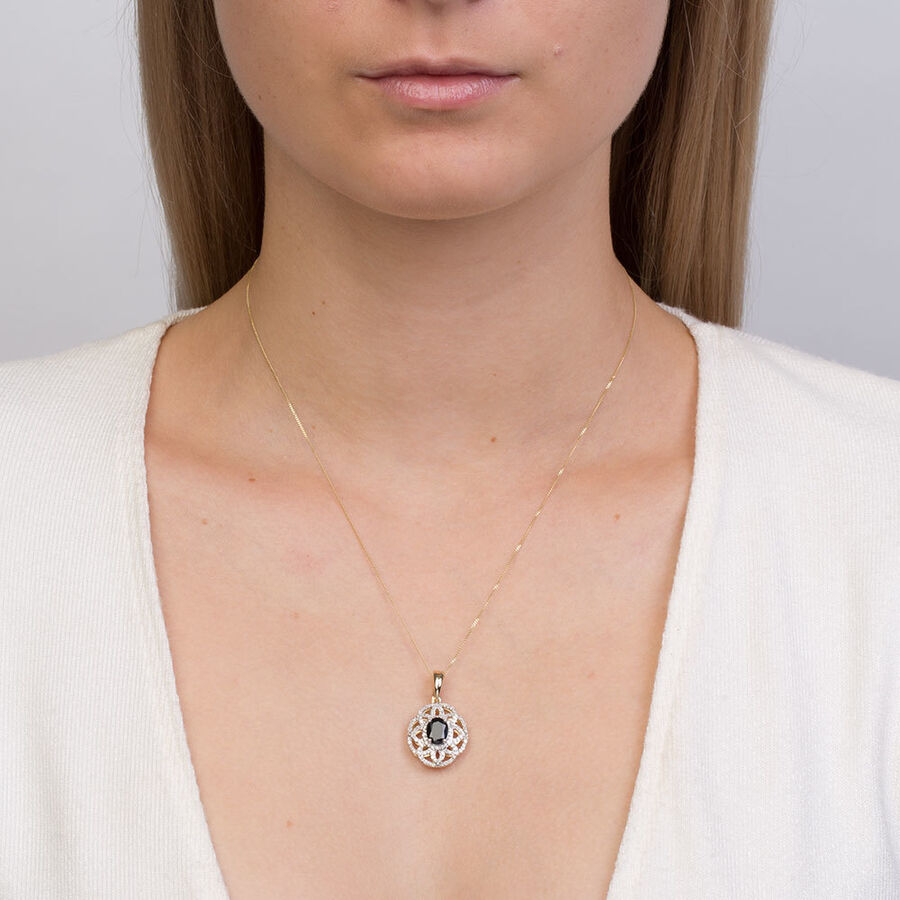 Pendant with Sapphire & 1/2 Carat TW of Diamonds in 10ct Yellow & White Gold