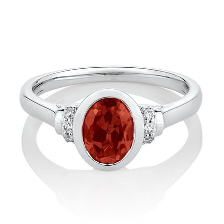 Ring with Created Orange Sapphire & Diamonds in 10ct White Gold