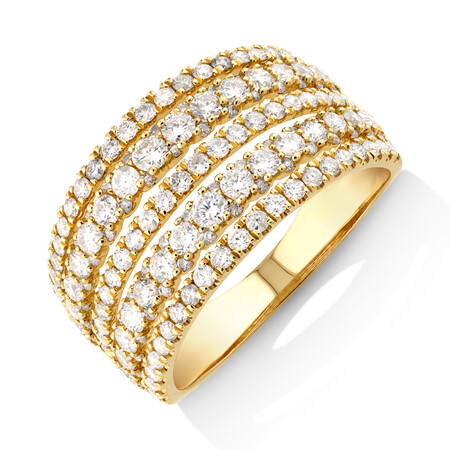Multi Row Ring with 1.50 Carat TW Diamond in 14ct Yellow Gold