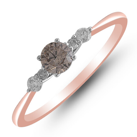 Ring with 0.33 Carat TW of White & Brown Diamonds in 10ct Rose Gold
