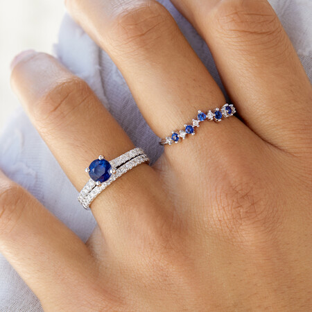 Ring with Created Blue Sapphire & Diamonds in 10ct White Gold