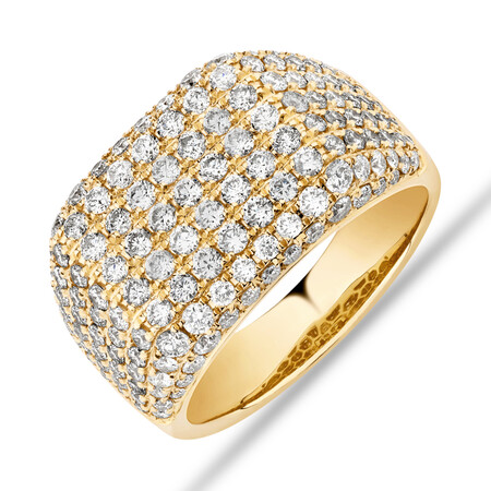 3 Carat Gents Ring with 3 Carat TW of Diamonds In 10ct Yellow Gold