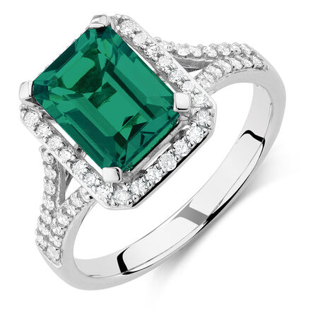 Ring with Created Emerald & 1/3 Carat TW of Diamonds in 10ct White Gold