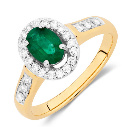 Ring with Emerald & 1/4 Carat TW of Diamonds in 10ct Yellow & White Gold