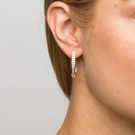 Hoop Earrings with 1 Carat TW of Diamonds in 10ct Yellow Gold