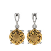 Online Exclusive - Earrings with Citrine & Diamonds in 10ct White Gold