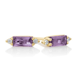 Earrings with Diamonds & Amethyst in 10ct Yellow Gold