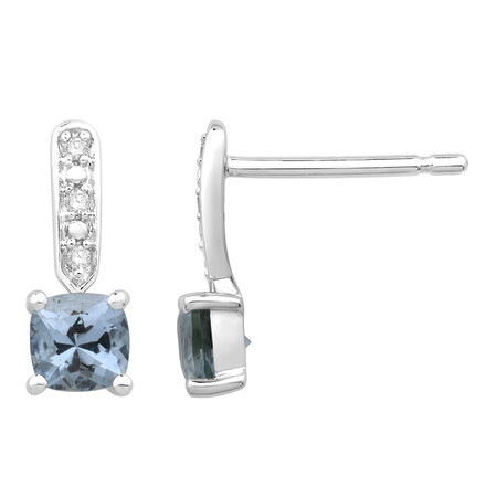 Earring with Diamond & Natural Aquamarine in 10ct White Gold