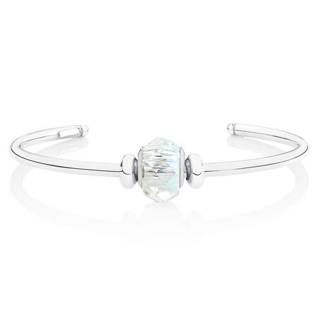Cuff Bangle with White Crystal in Sterling Silver