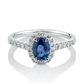 Ring with Created Sapphire & 0.30 Carat TW of Diamonds in 10ct White Gold