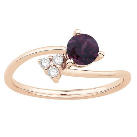 Ring with Rhodolite Garnet & Diamond in 10ct Rose Gold