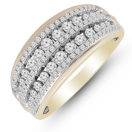 Two Row Ring with 0.70 Carat TW of Diamonds in 10ct Yellow & White Gold