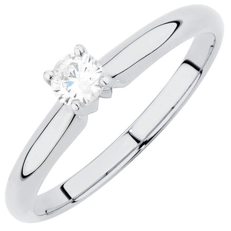 Solitaire Engagement Ring with a 0.20 Carat Diamond in 14ct White Gold