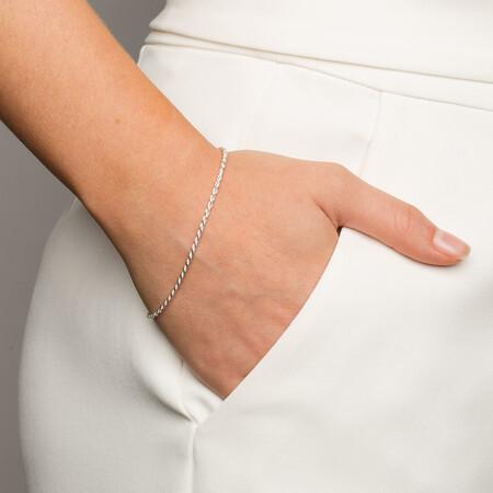 "19cm (7.5"") Rope Bracelet in Sterling Silver"