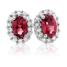 Online Exclusive - Stud Earrings with Created Ruby & 0.19 Carat TW of Diamonds in 10ct White Gold