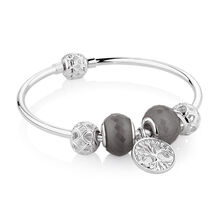 "17cm (7"") Tree of Life Starter Charm Bangle with Cubic Zirconia & Glass in Sterling Silver"