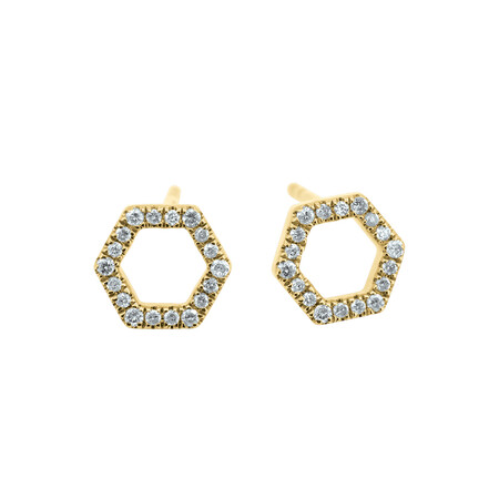 Hexagon Stud Earrings with Diamonds in 10ct Yellow Gold