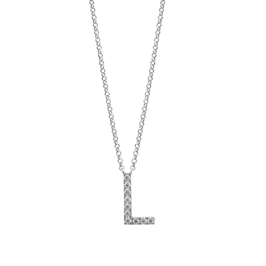 """""""L"""" Initial necklace with 0.10 Carat TW of Diamonds in 10ct White Gold"""