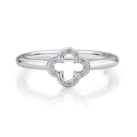 Cubic Zirconia & Sterling Silver Quatre Design Ring