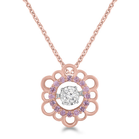 Everlight Pendant with Created Pink Sapphire and Diamond in 10ct Rose Gold