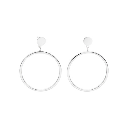 Large Open Circle Drop Stud Earrings in Sterling Silver