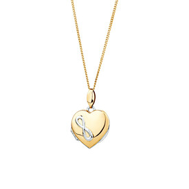 Heart Infinity Locket in 10ct Yellow Gold & Sterling Silver