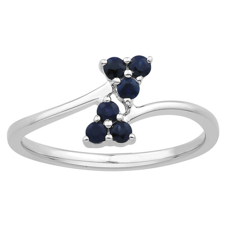 Flower Ring with Created Sapphire in Sterling Silver