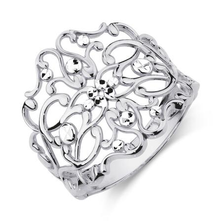 Filigree Ring in 10ct White Gold