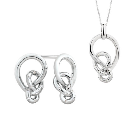 Knots Pendant & Stud Earrings Set with 0.13 Carat TW of Diamonds in Sterling Silver