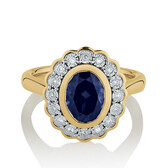 Halo Ring with Diamonds & Created Blue Sapphire in 10ct Yellow Gold